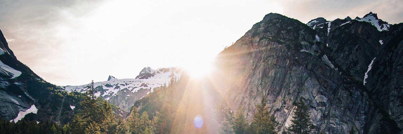 Sunrise over mountain highlights